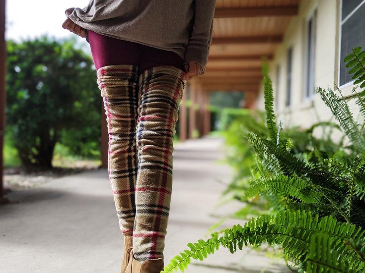 Classic Plaid Fleece Leg Warmers