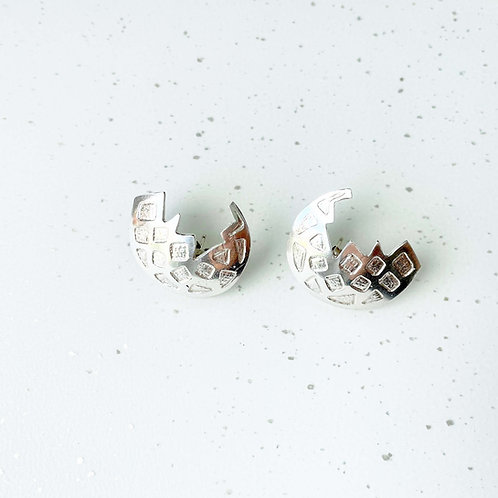 Crescent Moon Silver Earrings
