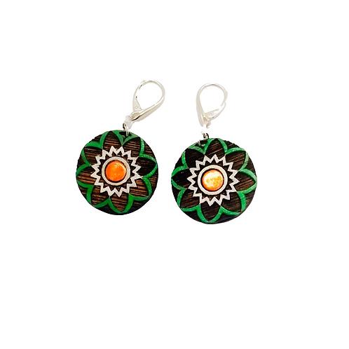 Silver & Wood Green Forest Drop Earrings