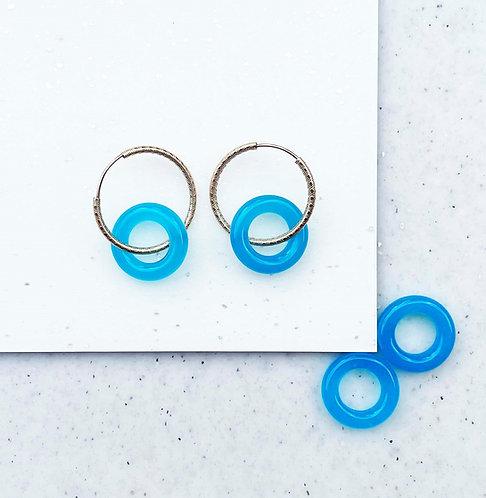 Gold Hoop and Blue Agate Earrings