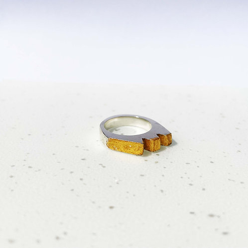 Geo Silver Ring with Gold Leaf