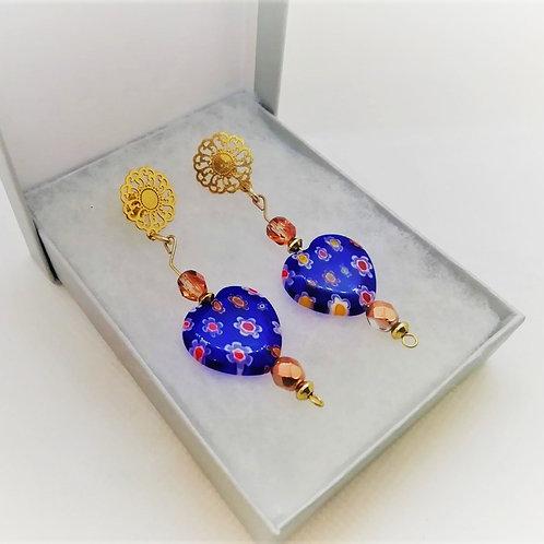 Venetian Blue Earrings - Millefiori