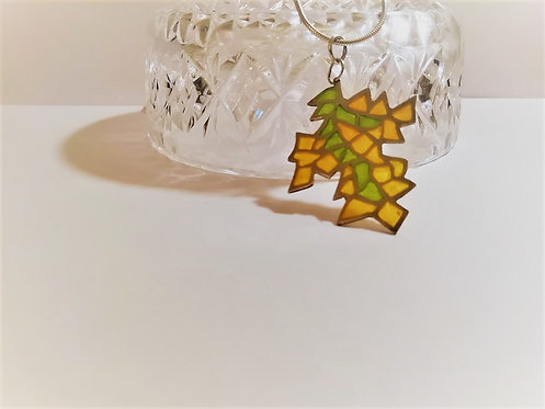 """Silver Leaf Necklace - Enamelled """"Plique - A - Jour"""""""