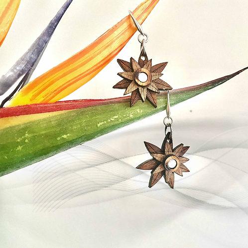 Palm  Silver & Wood Drop Earrings