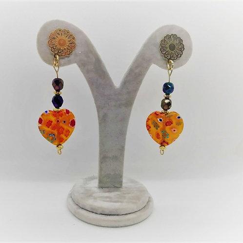 Venetian Amber Earrings - Millefiori
