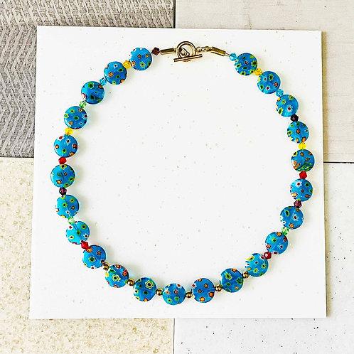 Blue Venetian Necklace/ Millefiori