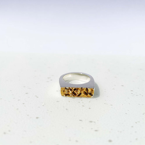 Oia Silver Signet Ring with Gold Leaf