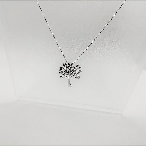 Tree of Life Silver Pendant Necklace - Contemporary