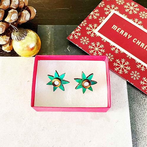 Christmas Star Stud Earring - Green