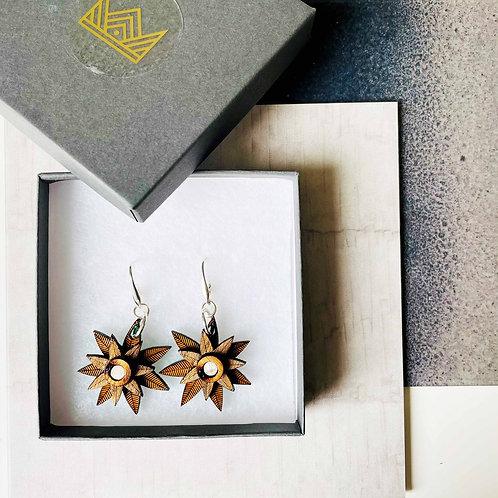 Christmas Star Drop Earrings - Wood & Silver