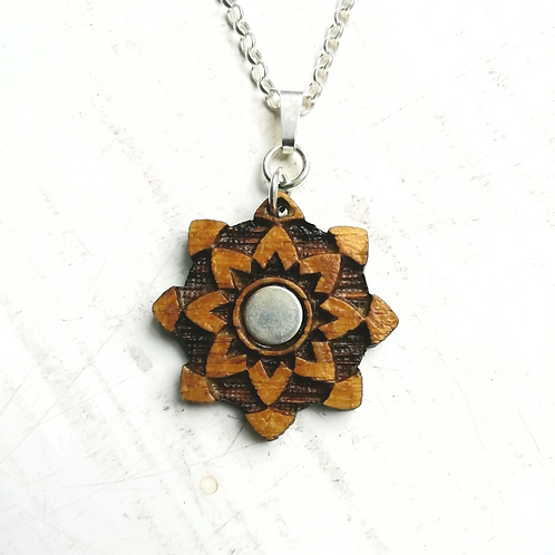 Silver & Wood Star Flower Necklace