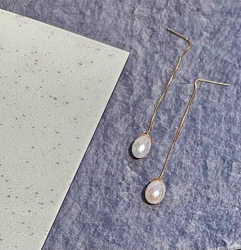 Gold Pearl Box Earrings