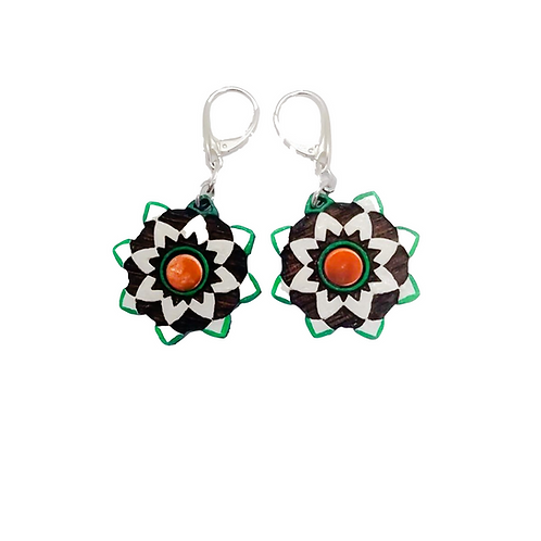Silver & Wood Arabesque Drop Earrings