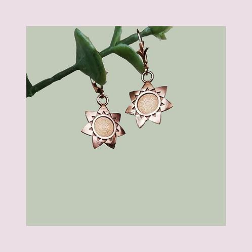 Rose Flower Drop Earrings - Solid Rose Gold