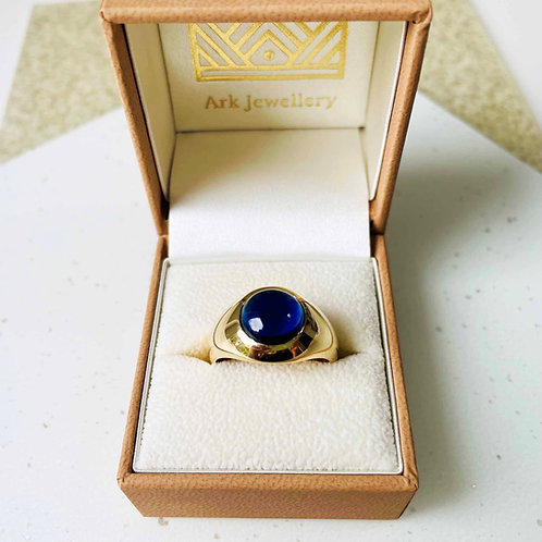 Gold Signet Ring with Blue Sapphire