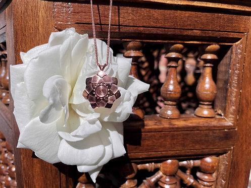 Rose Flower Necklace - Large - Solid Rose Gold