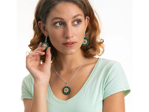 Silver & Wood Green Forest Necklace