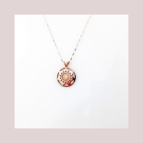 Rose Flower Necklace - Small - Solid Rose Gold