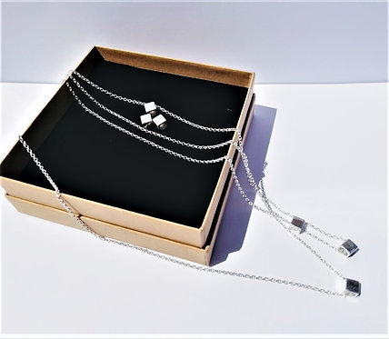 Sterling Silver Square World Pendant Necklace