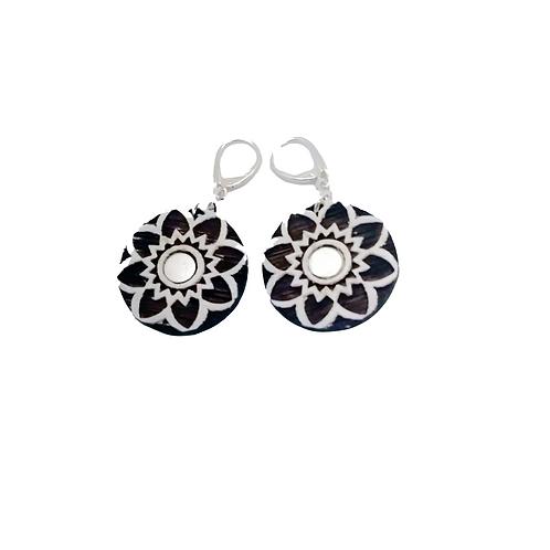Silver & Wood White Forest Drop  Earrings