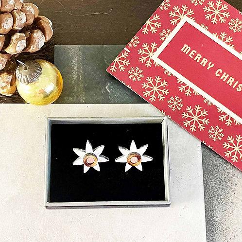 Christmas Star Stud Earring - White