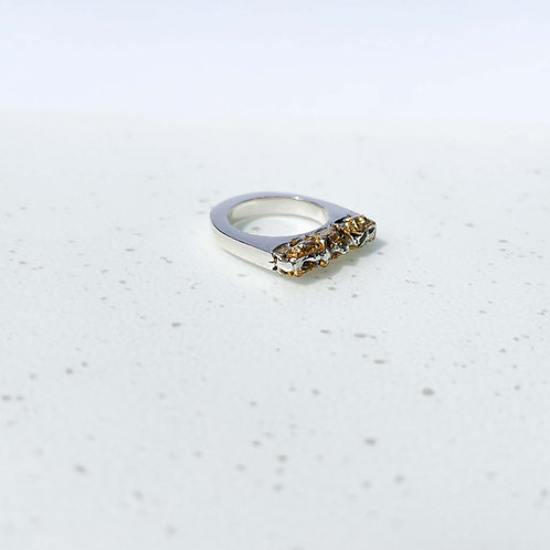 Fira Silver Ring with Gold Leaf