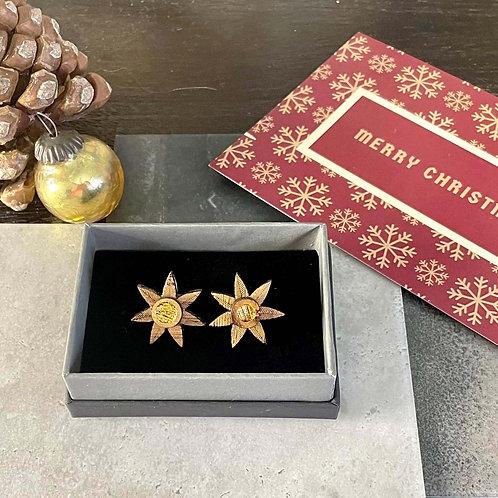 Christmas Star Stud Earring - Wood & Gold Leaf