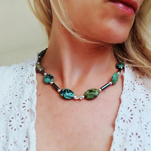 African Turquoise Jasper Necklace for growth and development