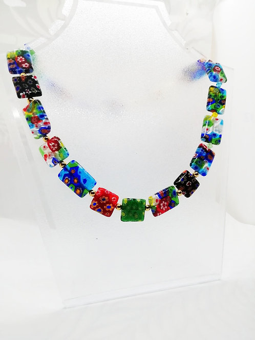Venetian Millefiori Necklace - Square & Rectangular