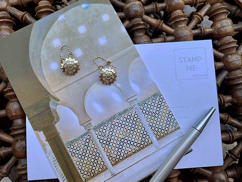 Starburst Drop Earrings - Solid Yellow Gold