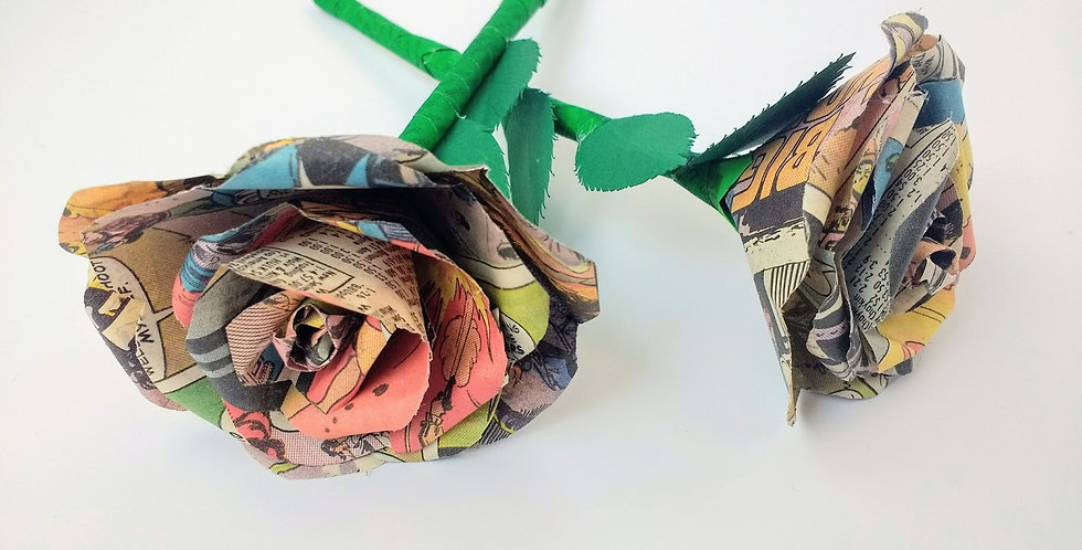 Recycled comic book rose