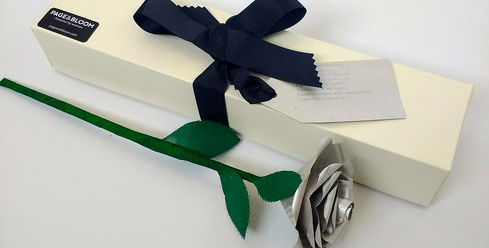 Silver paper rose gift box