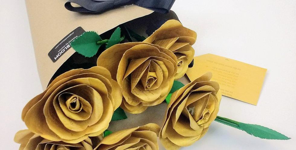 Gold paper rose bouquet