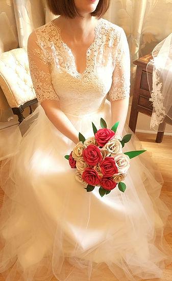 Paper rose bridal bouquet