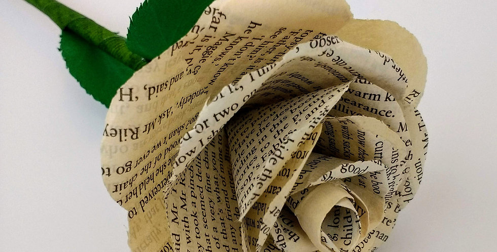 Bespoke book pages paper rose