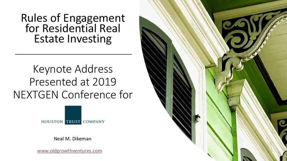 Neal Dikeman Delivers Keynote on Real Estate Investing at Houston Trust's NEXTGEN Conference