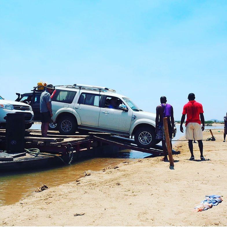 River ferry crossing Madagascar 4x4