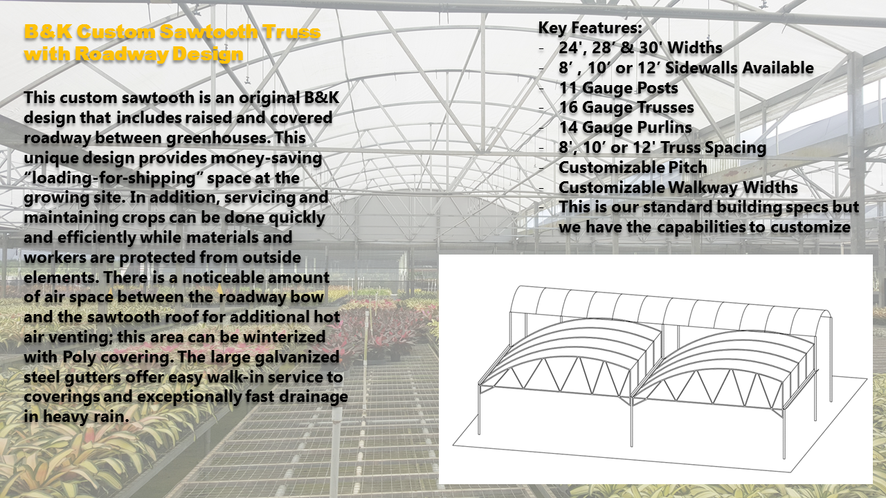 B&K Custom Sawtooth Truss with Roadway Design