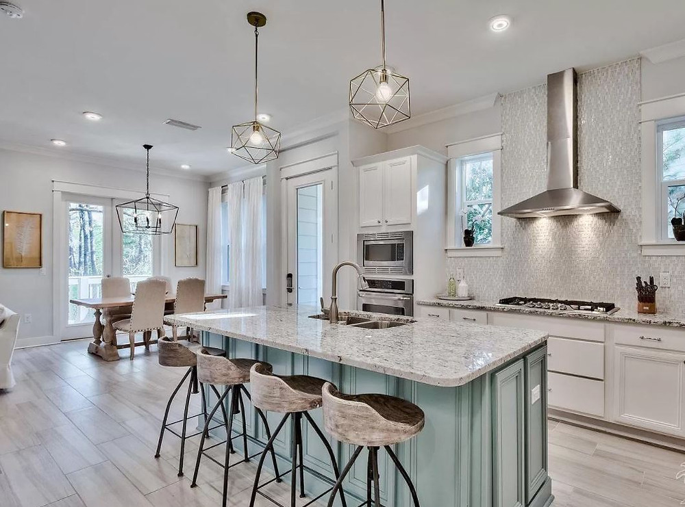 Bright, New Kitchen, Blue island, stainless range hood, Geometric Pendants, Rustic barstools