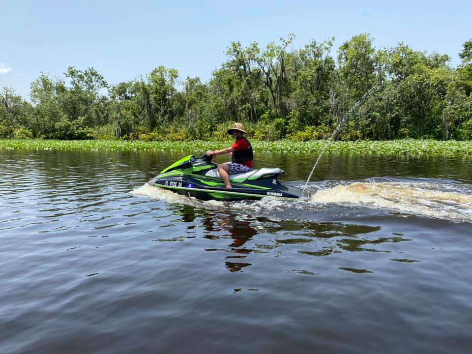 Freddy Kling on a personal watercraft in the St. John's River