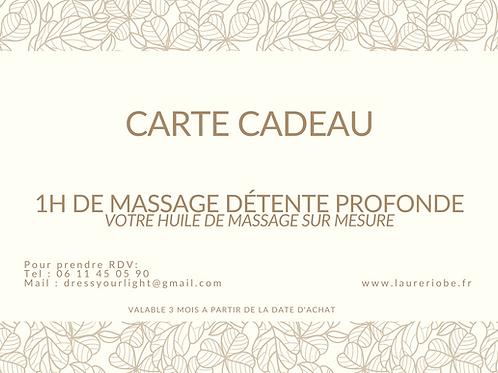 Carte cadeau Massage détente profonde SUR MESURE (1h15)