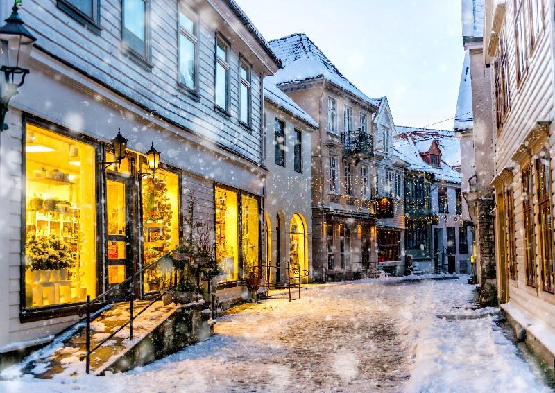 Snowy day in Bergen in Bryggen - All about Bergen, Norway