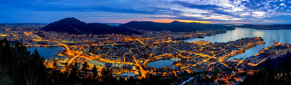 Sunset in Bergen panoramic view - Major cities of Norway