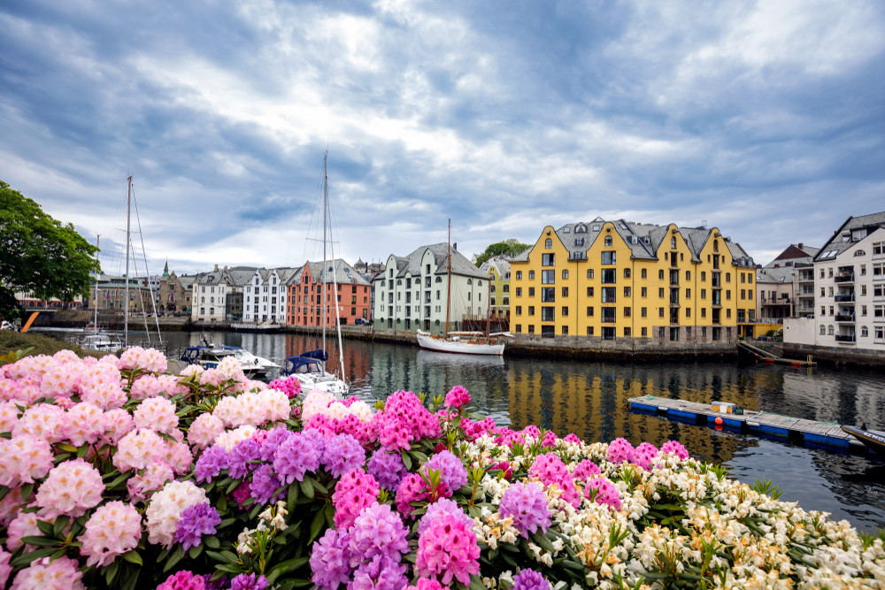 Stunning flowers in front of Alesund, with art nouveau buildings - top 10 tourist destinations in Norway