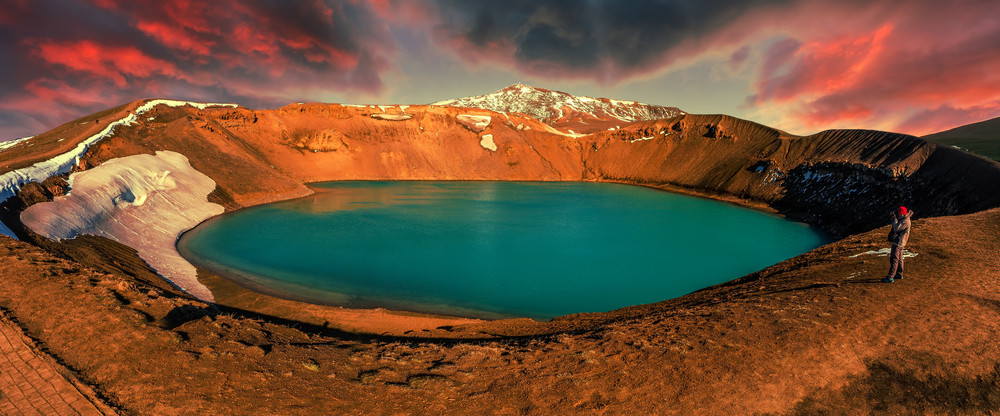 Stunning colors of Viti crater in colorful afternoon.