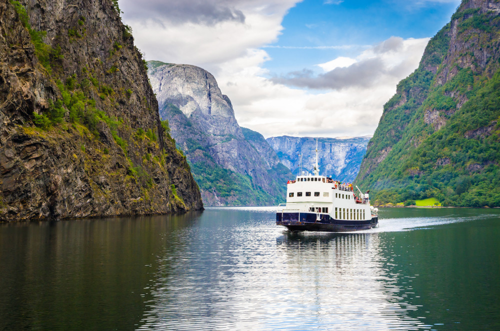 Cruise Ship in the Sognefjord, surrounded by mountains - Norway fjords: Our top five
