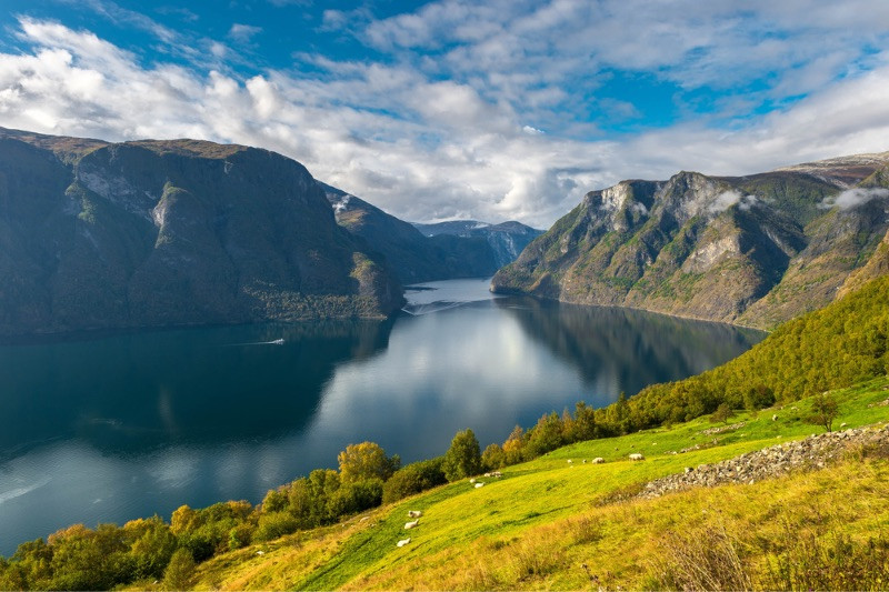 A view over the Sognefjord fjord located in the Western Norway