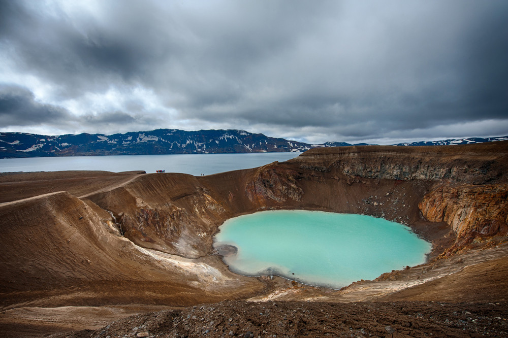 Turquoise waters of Viti crater and Oskjuvatn lake behind.