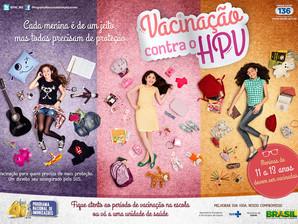2ª etapa da campanha deve vacinar 942 mil meninas contra o HPV