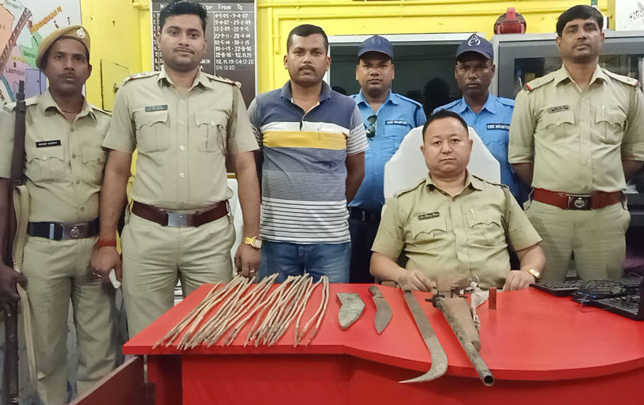 One held with firearms, cartridges and weapons